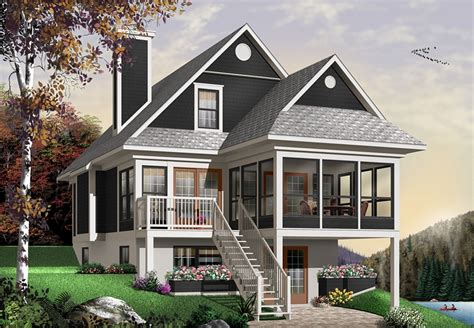 story lake house plan