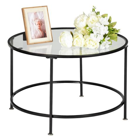 """Rounded rectangular glass coffee table with nesting stools: Zimtown 26"""" Round Coffee Table Living Room Tempered Glass ..."""