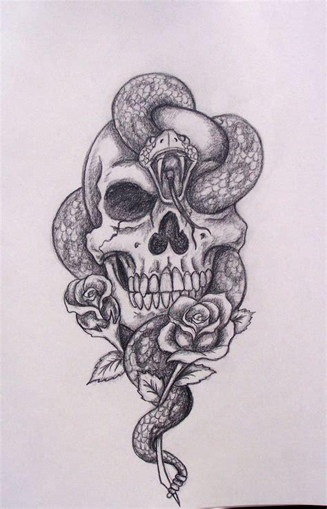 Snake Skull Drawing Cool Tattoo Idea Tattoos