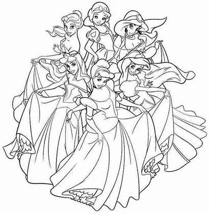 Coloring Disney Pages Princesses Princess Printable Jasmine
