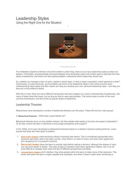 ready article leadership theory