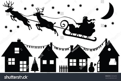 Reideer And Father Christmas Template For Windows by Santa Claus Silhouette Vector Stock Vector 41816254