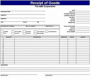Receipt of goods template sample for Merchandise receipt template