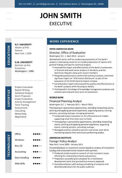 pin by cvfolio resume templates on executive resume