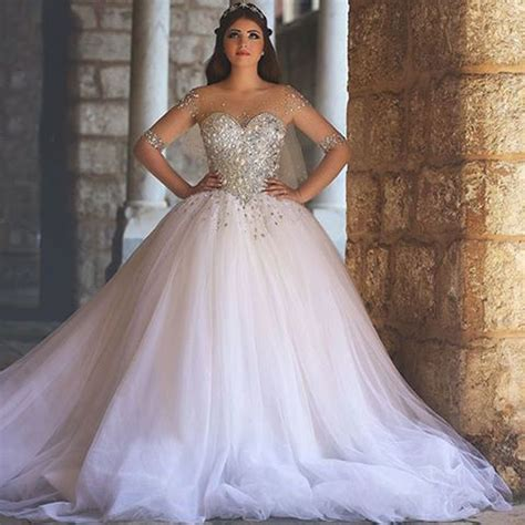 Luxury Crystal Princess Wedding Dresses Tulle Ball Gown