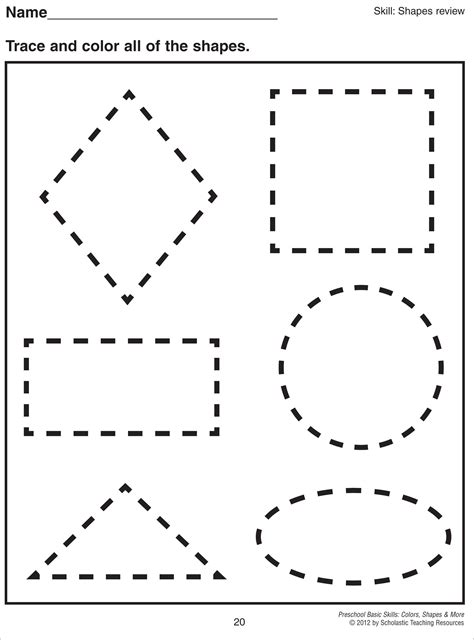 math worksheet 1000 about preschool shapes on