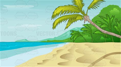 serene empty beach  pristine waters cartoon clipart