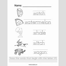 Trace The Words That Begin With The Letter W Worksheet  Twisty Noodle