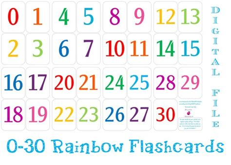 printable   number flashcards instant