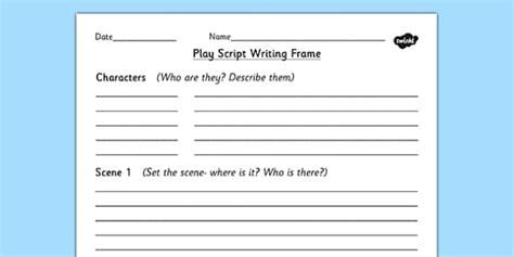 play writing template play script writing frame play play writing aid