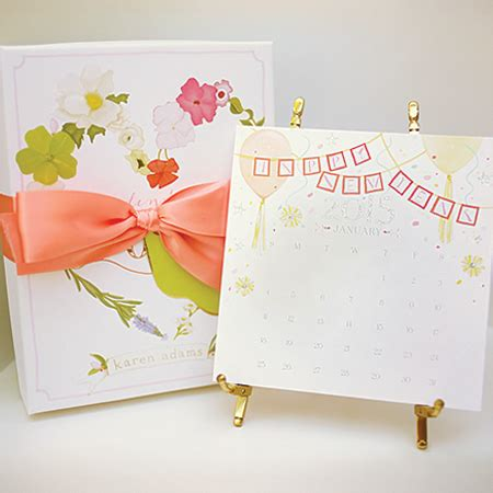 karen adams calendar gift box gold silver easel