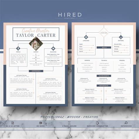 pin  hired design studio  resume templates  ms word