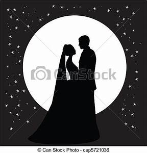 Clip Art Vector of wedding-dance - silhouette of a dancing ...