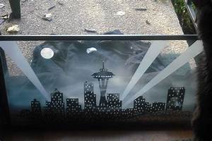 Hand Crafted Etched Glass Window Quot Seattle Skyline Quot By
