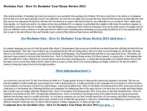 Declutter Fast How To Declutter Your Home Review 2013 By