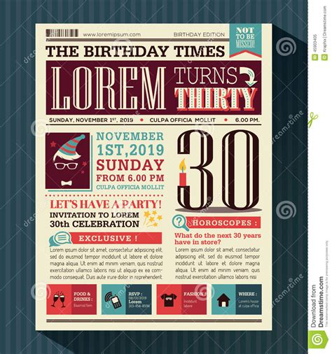 happy birthday party card design layout  newspaper style