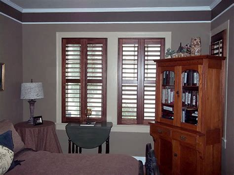 stained shutters  white casement windows craftsman