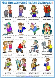 time activities esl picture dictionary worksheets