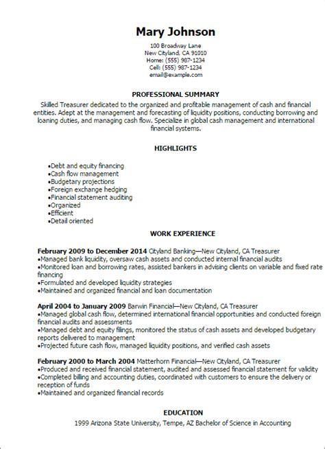 1 treasurer resume templates try them now myperfectresume