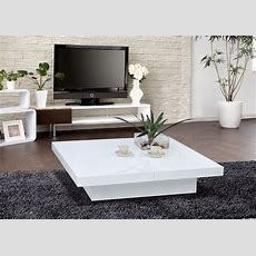 1005c  Modern White Lacquer Coffee Table