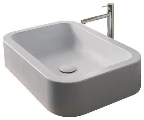 white rectangular vessel sink rectangular white ceramic vessel bathroom sink no hole