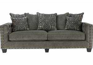 Cindy crawford home sidney road gray sofa sofas gray for Gray sectional sofa rooms to go