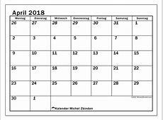 Kalender April 2018 66MS