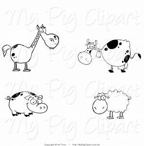 Swine Clipart Of Black And White Farm Animals And