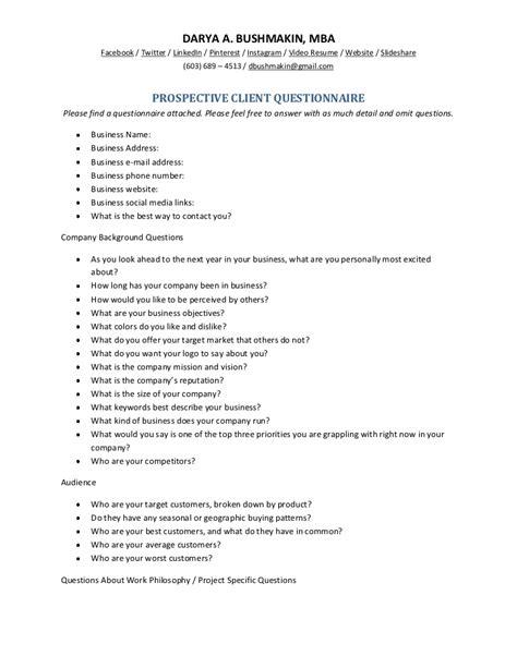 prospective client questionnaire