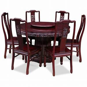 Set Table Rond : 48in rosewood dragon design round dining table with 6 chairs ~ Teatrodelosmanantiales.com Idées de Décoration