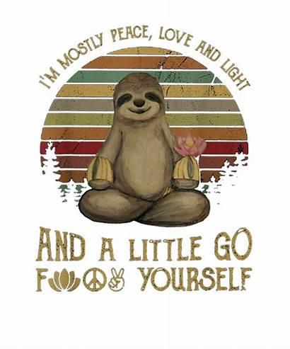 Sloth Peace Funny Yoga Tshirt Mostly Transparent