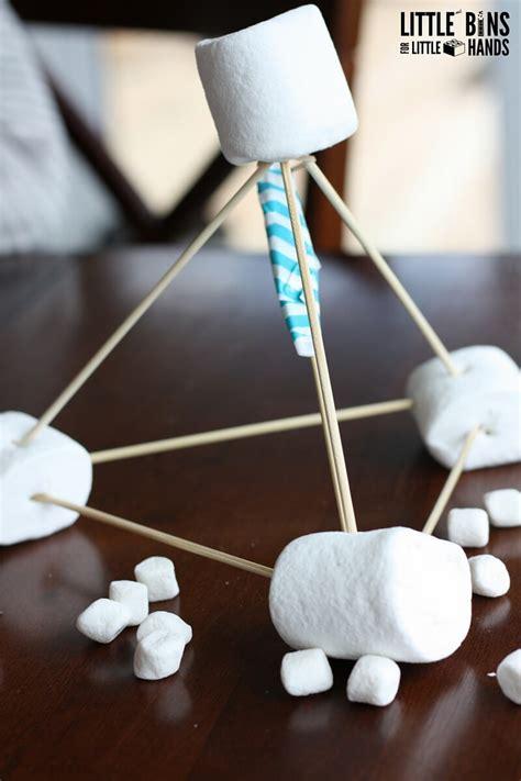 marshmallow catapult  stem  bins   hands