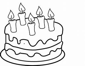 Bday Cake 5 Candles Black And White Clip Art at Clker.com ...