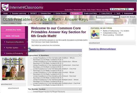 math  grade common core printables answer keys  ic