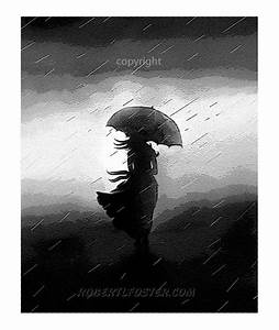 romantic art umbrella storm clouds print painting by lewfoster
