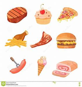 Fat Food Vector Icon Illustration. Cartoon Collection Of ...