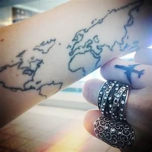 airplane hand finger tattoo map tatoo travel tattoo ...