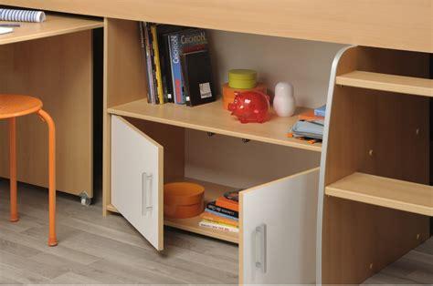 lit avec bureau lit 1 place avec rangement bureau intégré enfant