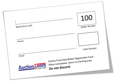 Auction Bid Cards Template Silent Auction Bidder Registration Card Template Free