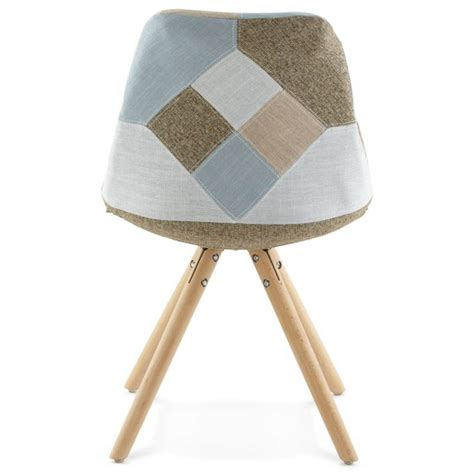 chaise gris chair patchwork style scandinavian bohemian fabric blue
