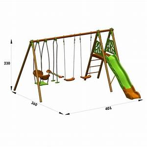 Portique métal/Bois Techwood : 2 balançoires + face à face + toboggan + nacelle 401 x 360 x 230