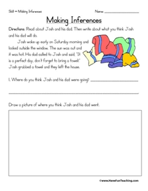 inference worksheets by teaching teachers pay teachers