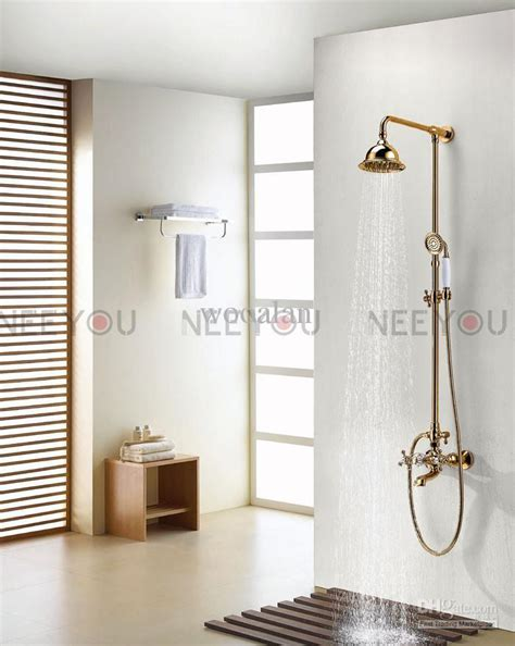 2018 Bathroom Dual Handles Exposed Pure Copper Wall Mount