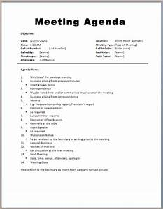 14 meeting itinerary templateagenda template sample for Standard minutes of meeting template