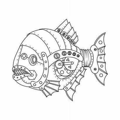 Steampunk Coloring Fish Piranha Vector Animal Drawing