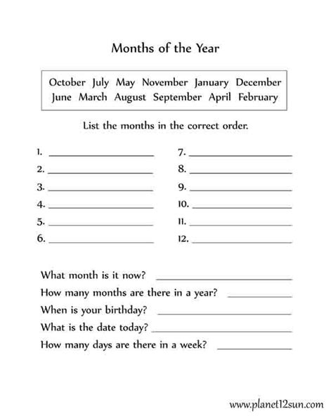 months of the year worksheet 2nd 3rd 4th grade 2nd