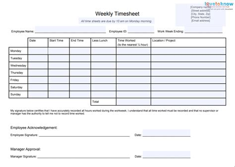 timesheet templates  track work hours
