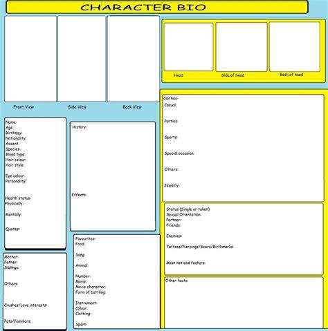 Character Bio Template Character Bio Template By Kitkattykomodo On Deviantart