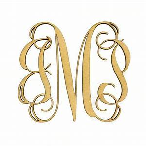 Wooden Monogram - Unfinished, Cursive Wooden Letter ...