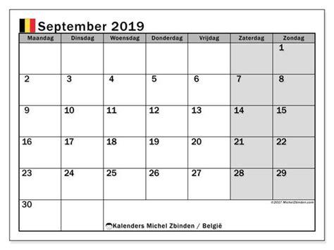 kalender september  met de feestdagen van belgie